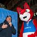 Ambasador mistrovství v Cortině d'Ampezzo Kristian Ghedina s maskotem šampionátu Cortym., foto: OK Cortina 2021