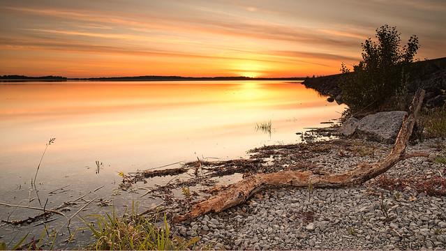 Coucher de soleil sur le lac d'Orient