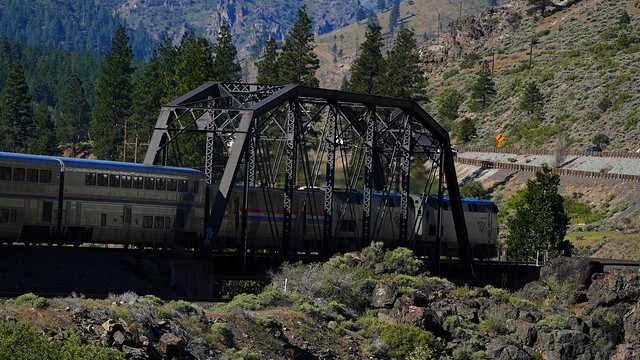 AMTK Train # 5 over the Truckee at Fleish