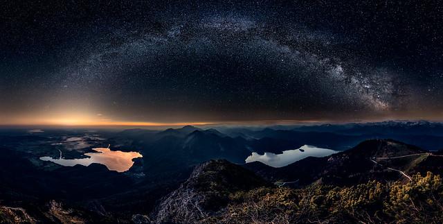 Lakes under Milky Way