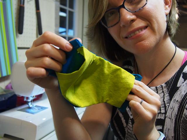 Showing the liner pocket