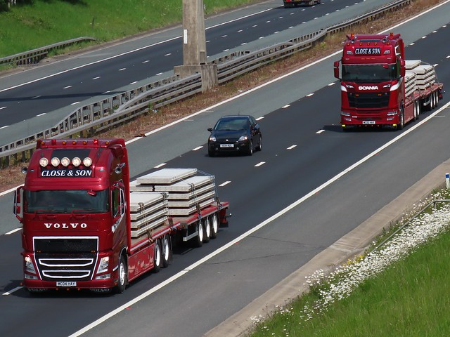 Close & Son, Volvo FH & Scania S500 On The A1M Southbound