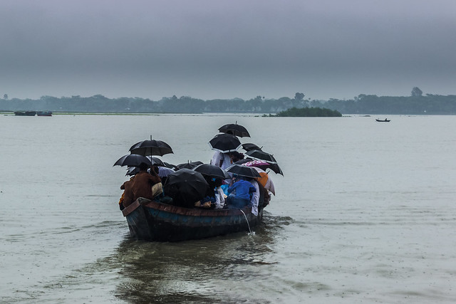 Monsoon in Bangladesh - Boat in the rain - Peoples' Lifestyle