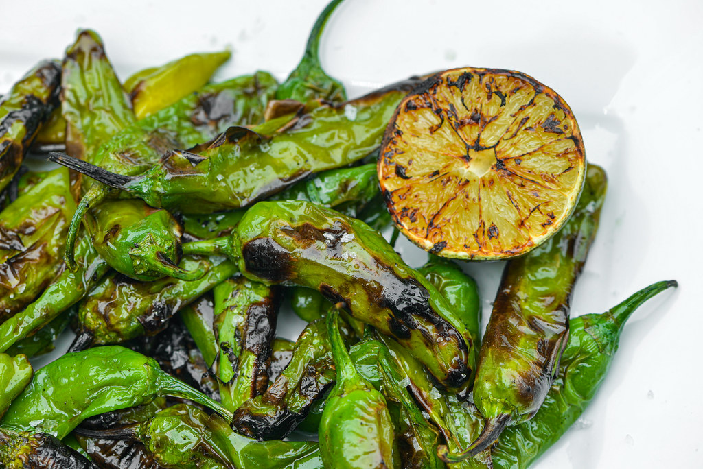Grilled Shishito Peppers with Sesame, Lime, and Sea Salt
