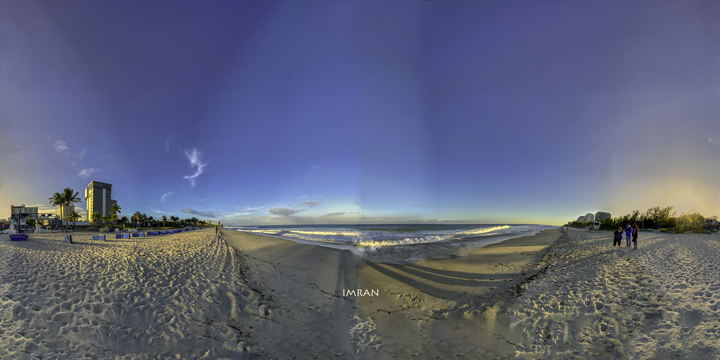 Setting Sun At Fort Lauderdale Beach Florida 360°x360° Panorama - IMRAN™