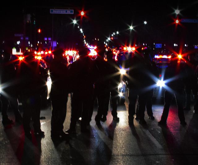 Police at Black Lives Matter protest 2014