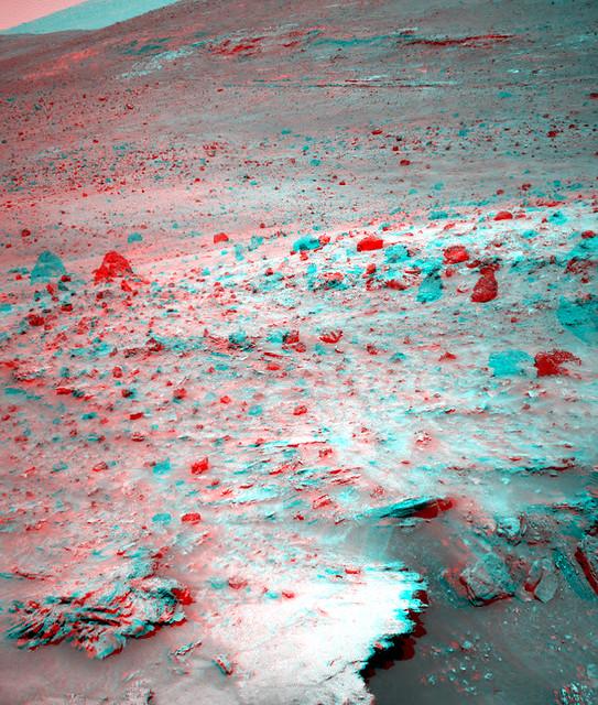 NASA MARS SPIRIT ROVER SOL 1143 3D RED CYAN ANAGYLPH D