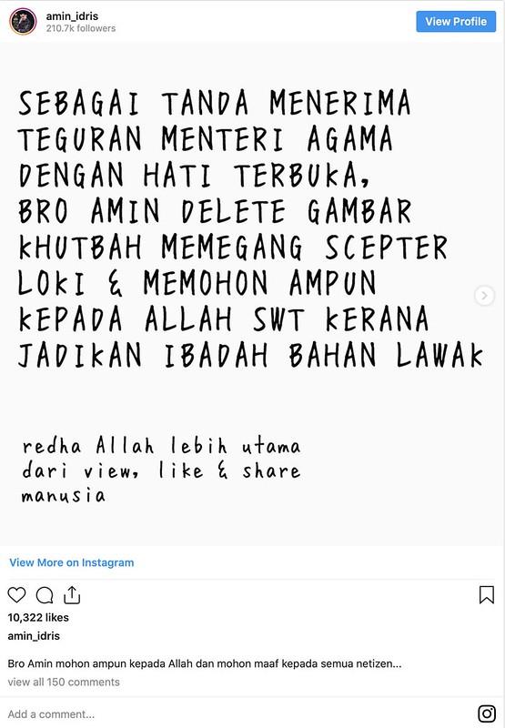Khutbah Guna Tongkat Loki, Amin Idris Mohon Maaf Selepas Ditegur Dr. Zulkifli