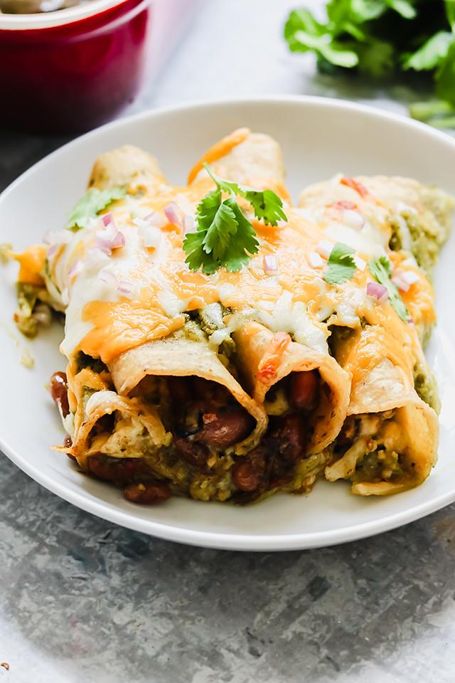 Vegetarian Salsa Verde Bean and Cheese Enchiladas