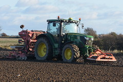 John Deere 6150R Tractor with a Farm Force Front Press & a Kuhn Combiliner Venta LC302 Seed Drill & Power Harrow
