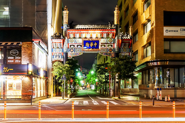 Genbu-Mon Gate, Yokohama Chinatown at Night : 横浜中華街 玄武門