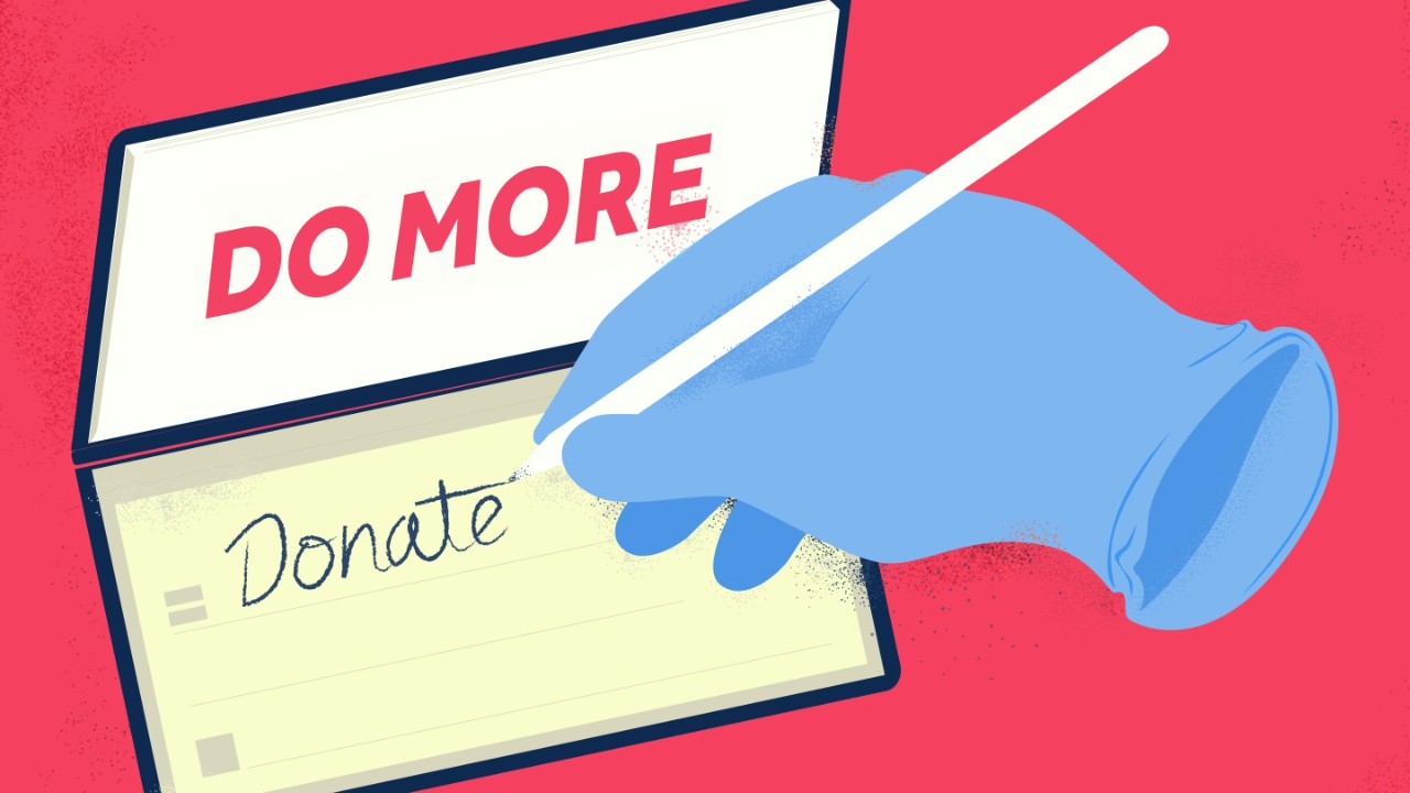 An illustration of a hand writing 'Do more - Donate' on a notepad.