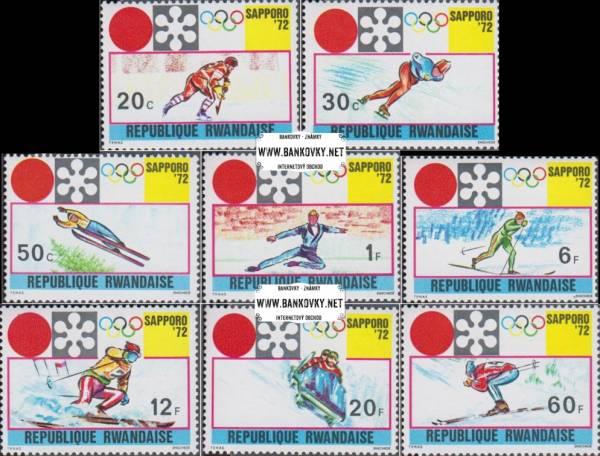 Známky Rwanda 1972 ZOH Sapporo, razítkovaná séria