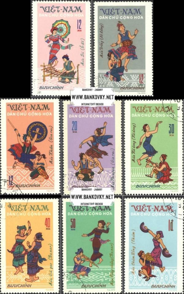Známky Vietnam 1972 Ľudové tance, razítkovaná séria