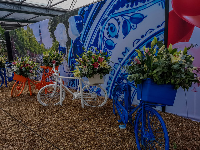 Delft Blue, bicycles and flowers. Famous identification things with the Netherlands.