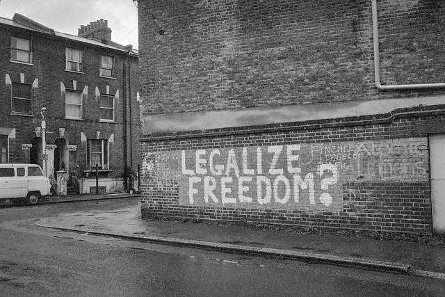 Legalise Freedom?, St Agnes's Place, Vauxhall, Lambeth, 1984 84-3b-23: