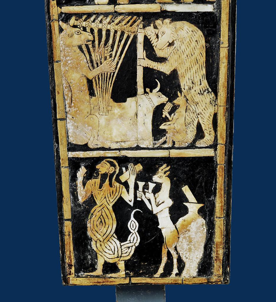 Bull-headed lyre from Ur, detail [ca 2450 BCE]