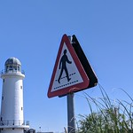 Sign and lighthouse at Preston Docks