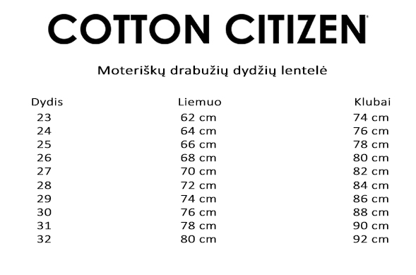Cotton Citizen dydžių lentelė