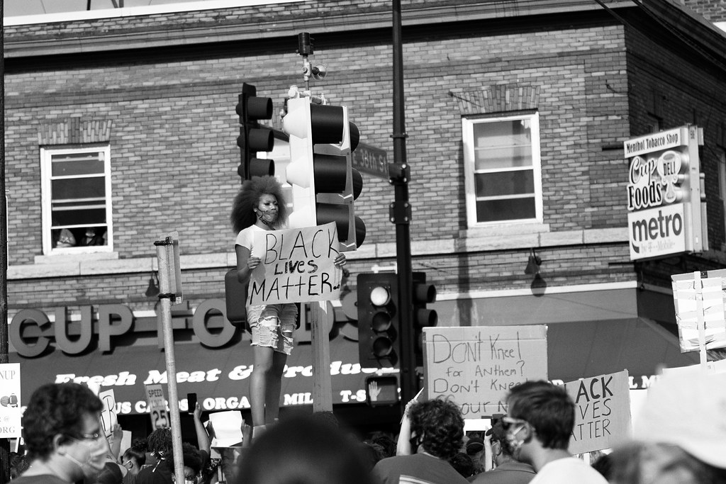 Protesters at 38th Street and S. Chicago Avenue in Minneapolis on Tuesday after the death of George Floyd in Minneapolis, Minnesota