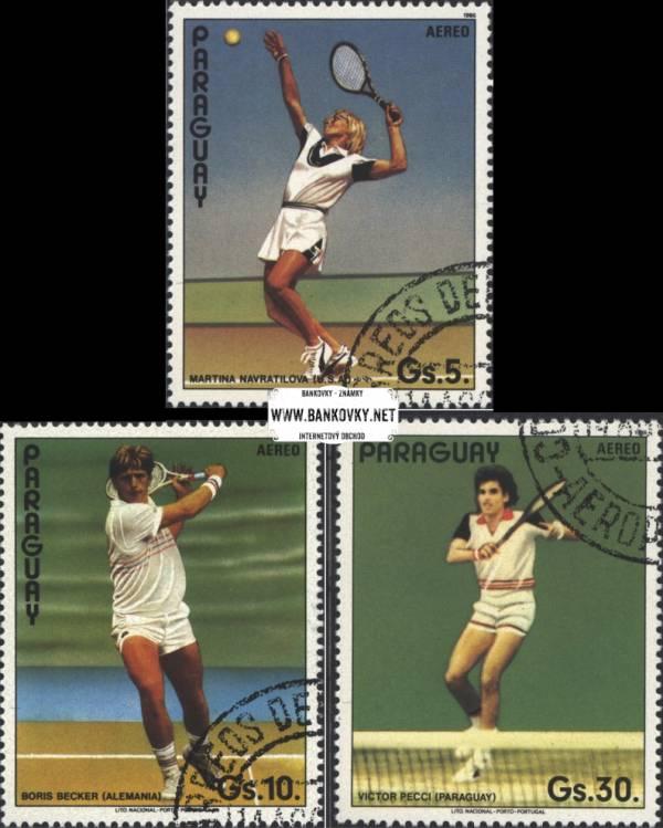 Známky Paraguay 1986 Tenisoví hráči, razítkovaná séria