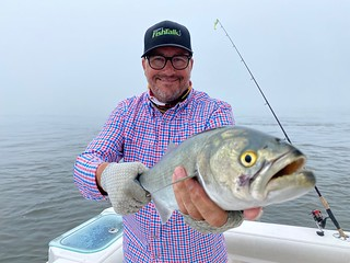 Photo of man with bluefish