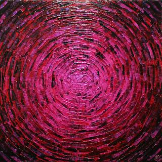 Peinture au couteau : Éclaté de couleur rose rouge.