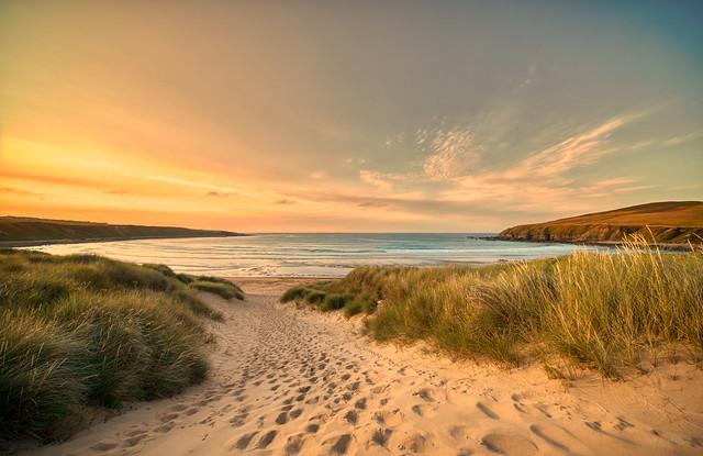 Sunset over Melvich Beach, Northern Scotland.