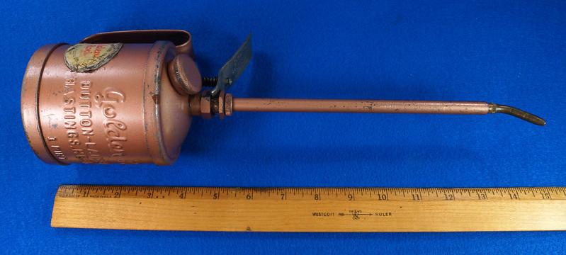 RD28923 Vintage Golden Rod Dutton-Lainson Hastings, Nebr. Old Script 1 Pint Oil Can with Paper Label DSC05951