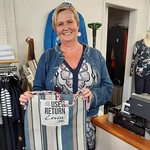 Michelle at 'By Design Fashions' Levin supports the Sustainability network by having a station in the shop for the boomerang bags.
