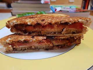 Vegemite, Tomato, and Miyoko's Smoked Farmhouse Toasted Sandwich
