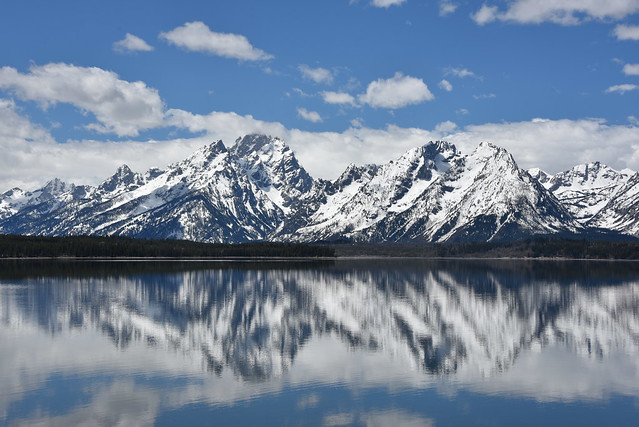Grand Teton Mountain Range reflects into Jackson Lake in Moran, Wyoming