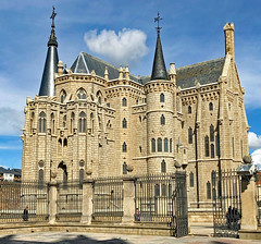 The Episcopal Palace of Astorga. Spain is a building by Catalan architect Antoni Gaudí. It was built between 1889 and 1913.
