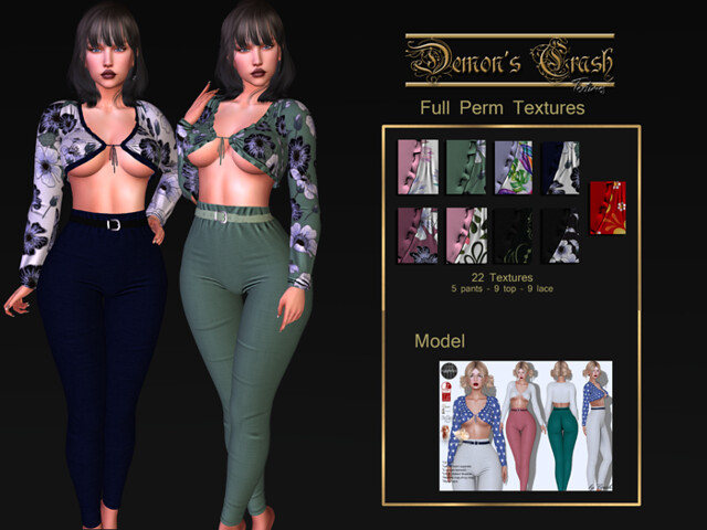 [DC] Textures -byCrash Full perm mesh-High waist pants and tied shirt