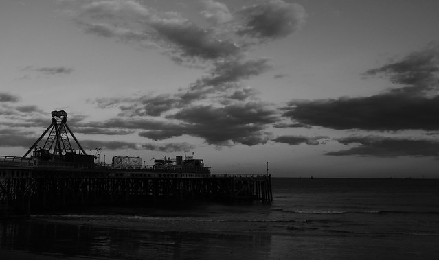 Black & White Sunset Pier
