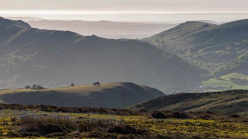 long mynd church stretton common bracken heather mist trees hills rolling sunrise shadows