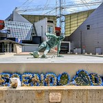 Very dry 'Splash' statue of Sir Tom Finney in Preston