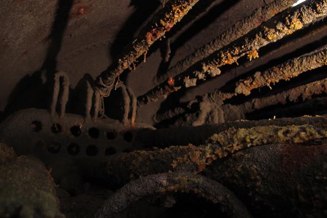 Wrecked ships boiler