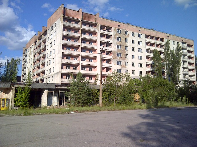 Apartment building in the ghost town of Prypiat