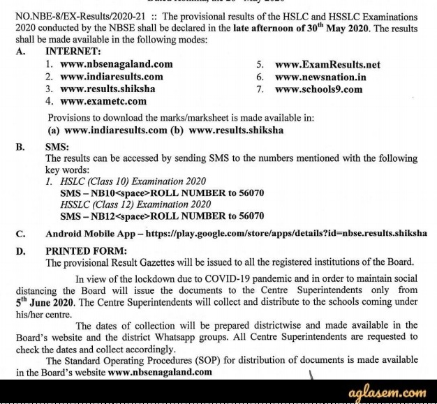 Official Notice for NBSE Class 10 & Class 12 Result 2020 Date