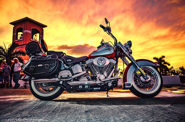 Harley with a South Florida sunset.