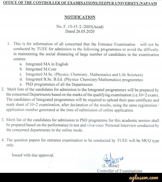 TUEE 2020 - No Entrance Exam for Integrated programmes and Ph.D programme of all departments