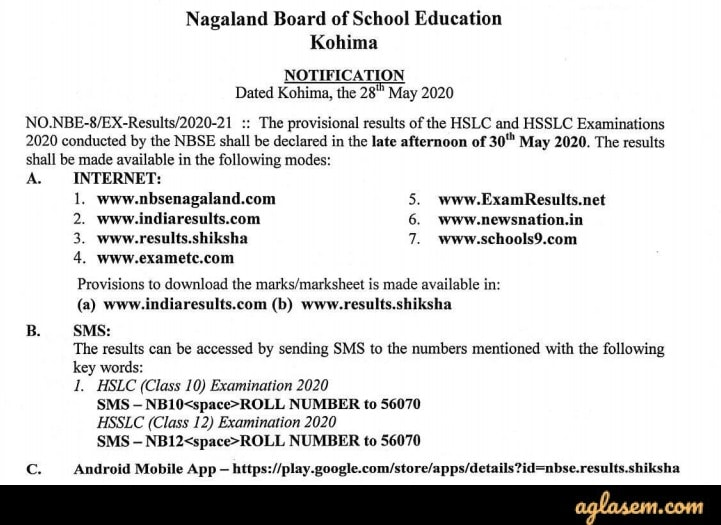 NBSE result 2020 date for class 10, 12