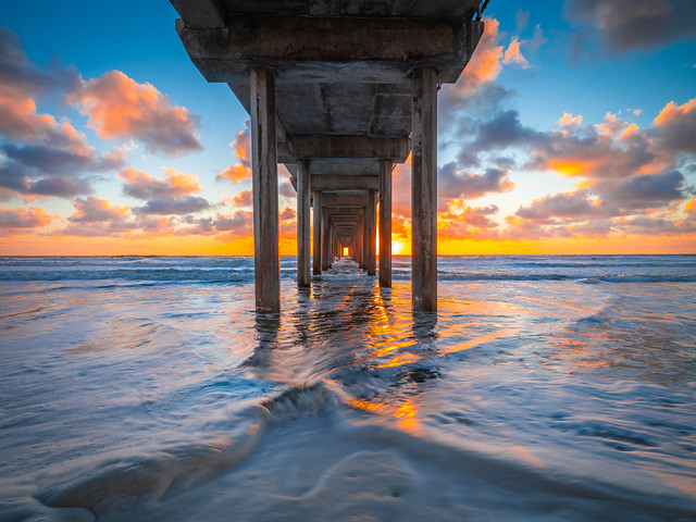 Scripps Pier Ocean Art Seascape San Diego La Jolla Beach Fuji GFX 100 Sunset Brilliant Red Orange Yellow Clouds! Elliot McGucken Master Medium Format Fine Art Landscape Nature Photography Fuji GFX100! Fujifilm Fujinon Gf 23mm F/4 R Lm Wr Wide Angle Lens