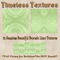 TT 12 Seamless Beautiful Brocade Lime Timeless Textures