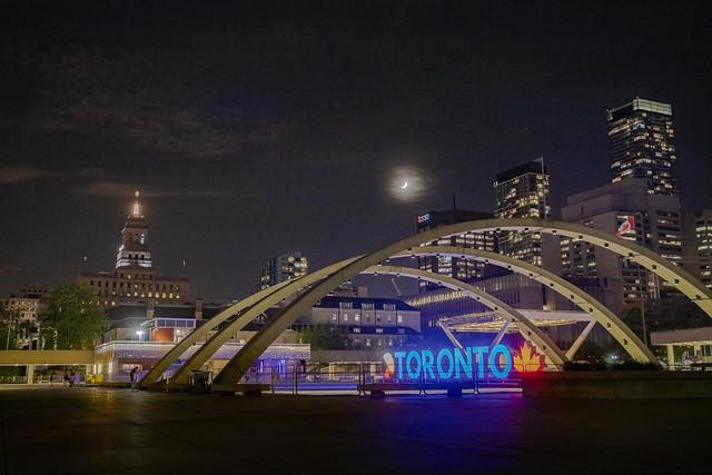 Moon Over The Toronto Sign Last Night