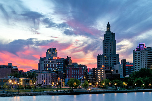 providence ri rhodeisland city downtown sun sunset beauty river evening spring sky newengland slowshutter longexposure
