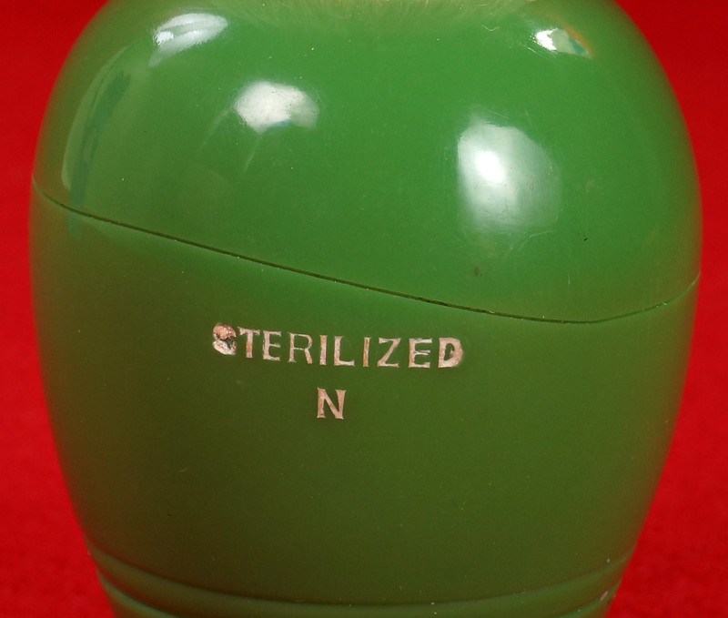 RD21358 Rare Antique Ever-Ready Shaving Brush 50R Sterilized N Green Bakelite Handle in Box DSC06180