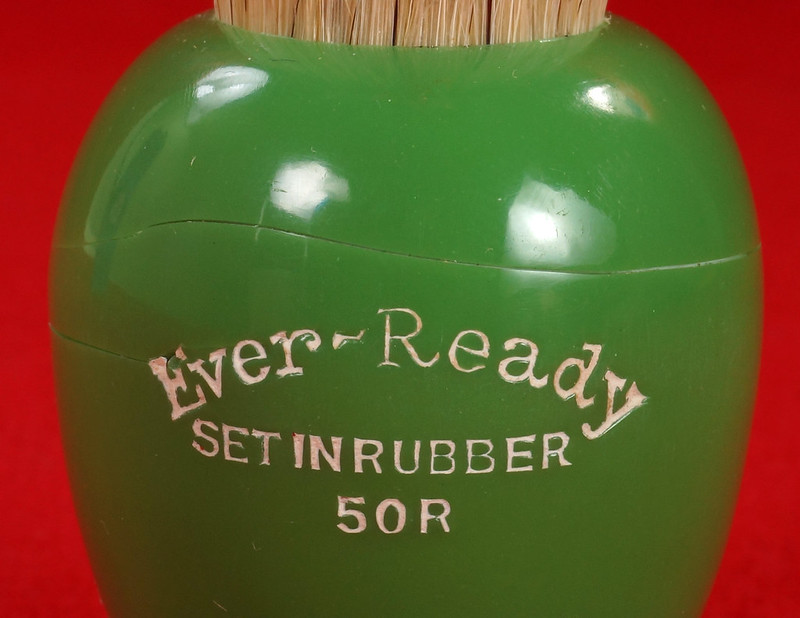 RD21358 Rare Antique Ever-Ready Shaving Brush 50R Sterilized N Green Bakelite Handle in Box DSC06179