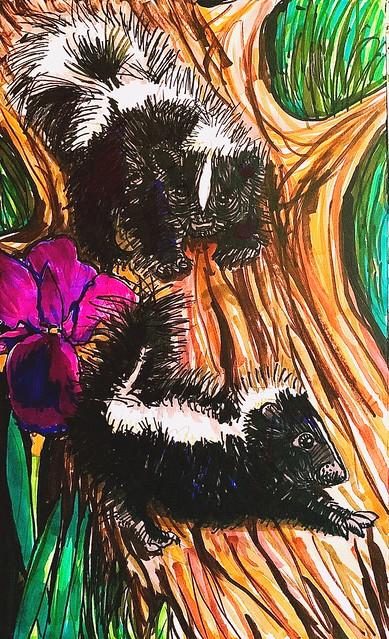 "Baby skunks study. Ink on paper 7""x14"""